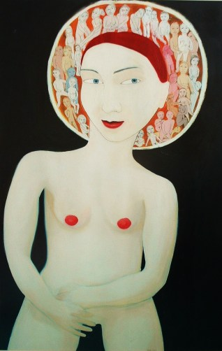 Halo Of Thoughts, oil and mixed media on card, 2001